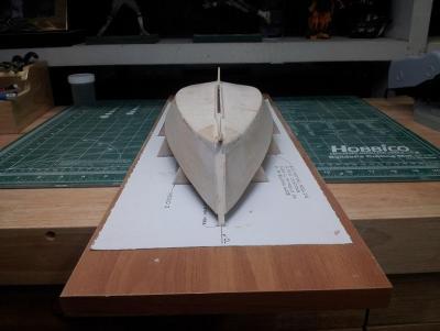 Willie L Bennett Chesapeake Bay SkipJack 16. Ready for Primer and inspection - Stem View.jpg