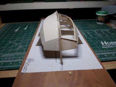 Willie L Bennett Chesapeake Bay SkipJack 12. Starboard Hull Rough Finish - Stern View.jpg