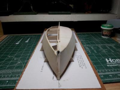 Willie L Bennett Chesapeake Bay SkipJack 11. Starboard Hull Rough Finish - Bow View.jpg