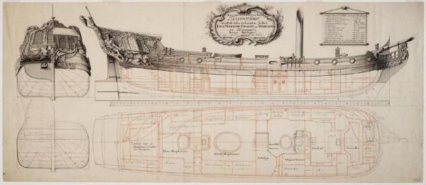 Accuraate Teekening van het Transportjacht zoals de Selve Gebouwt is by het Edelmoogende Collegie ter Admiralitijt in Frieslant binnen.jpg