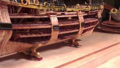 imageside view of the ship, showing how the fully framed hull was cutaway to show the interior details of the ship.