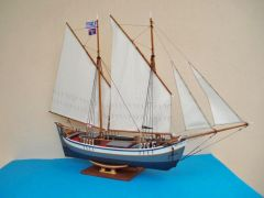 "A5. Trechandiri with ""brachera"" rigging (two lug sails)"