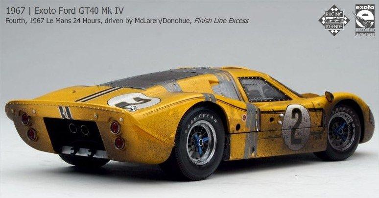 Exoto 1/18 MKIV 1967 McLaren/Donohue #2 yellow Finish Line Plus ...