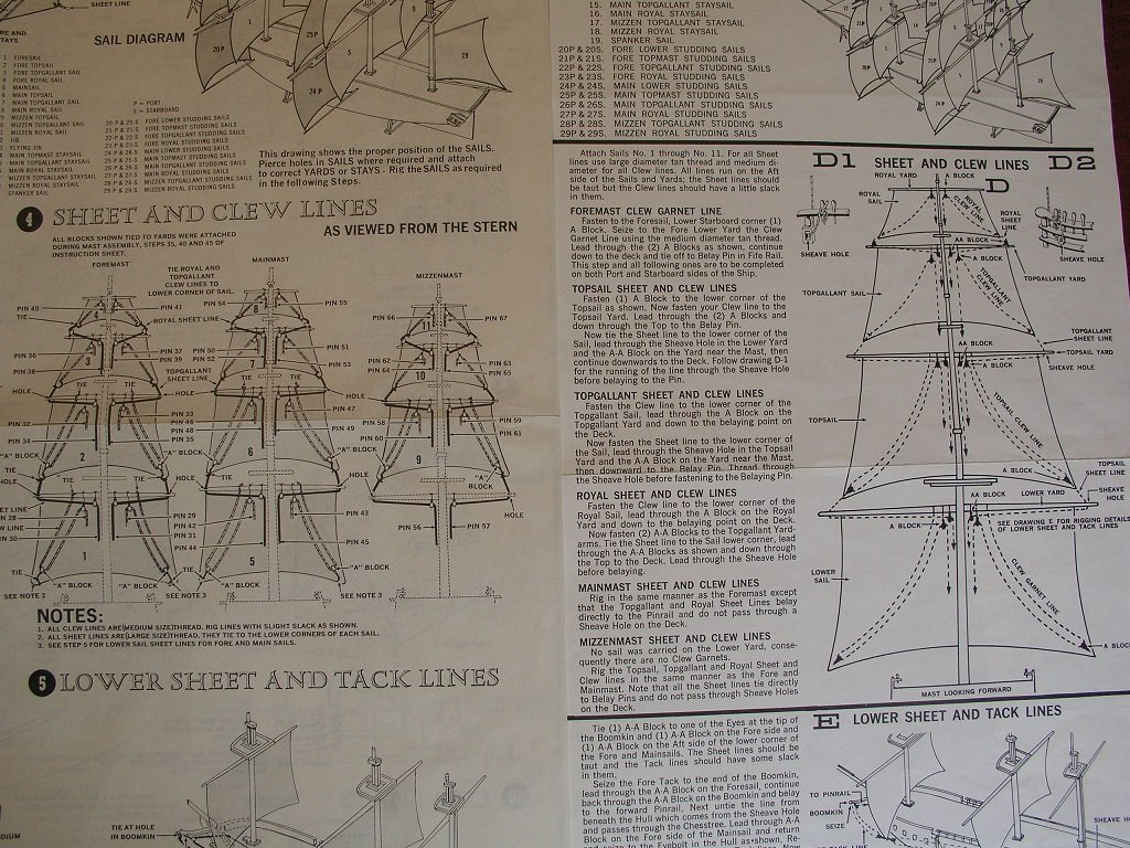 Rigging Instructions 1 96 Revell Constitution Masting Rigging And