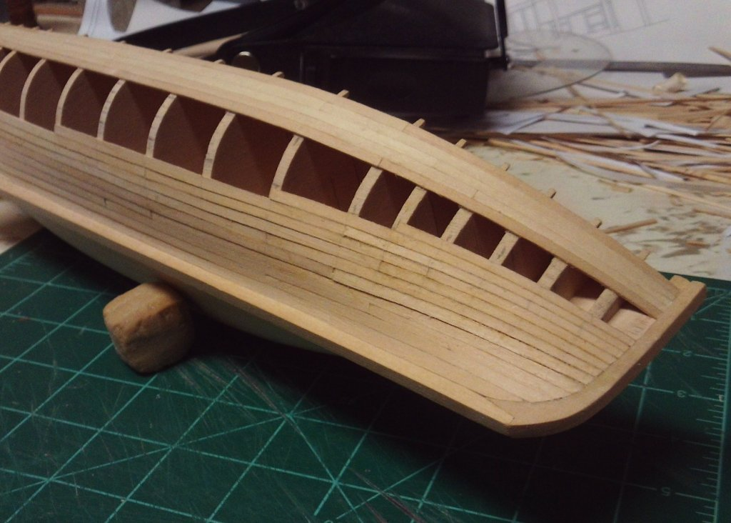 progress starboard bow planking 7-9-2017.JPG