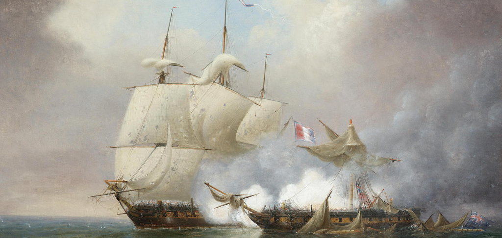 H.M.S. 'Iris' dismasted by the French frigate 'Citoyenne-Francaise'.png