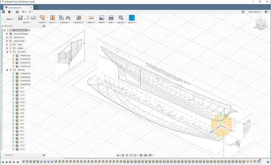 An attempt at hull modeling with Fusion 360 Loft + Rails - CAD and