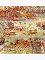 The fresco showing the Minoan fleet in Akrotiri Santorini Island.jpg