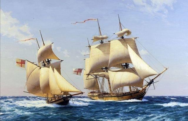 The 18 gun SloopOfWar HMS Bermuda (1805) escorted by ballahoo class schooner HMS Mullet (1807) of 4 guns Both Bermuda built of Bermuda Cedar by Deryck Foster.jpg